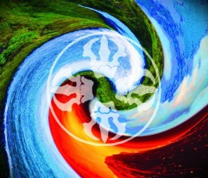 Five Elements (五大 Wŭ Dà or Go Dai) Earth ~ 地 Chi (Dì) - North - Spring - Green Water ~ 水 Sui (Shuǐ ) - West - Summer - Blue Fire ~ 火 Ka (Huǒ) - South - Autumn - Red Earth ~ 風 Fū (Fēng) - East - Winter - Yellow Aether ~ 空 Kū (Kōng) - Center - Year - White/Black
